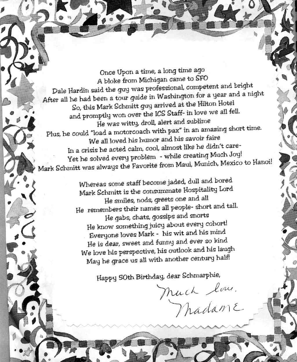 50th Wedding Anniversary Poems For Parents: Briefs Our Music 50th Class Reunion Poem Courtesy Of Dave